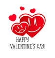 hearts love happy valentine s day greeting card vector image