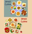 israeli cuisine shabbat dinner icon set design vector image vector image