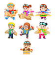 kids playing with the cardboard box plane vector image vector image