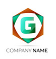 letter g symbol in the colorful hexagonal vector image vector image