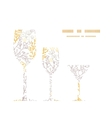 magical floral three wine glasses vector image