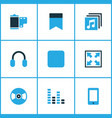 media icons colored set with widen headphone vector image vector image