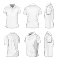 Mens white short sleeve polo-shirt vector image vector image