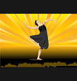 modern dance on yellow background vector image