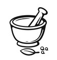mortar and pestle with spices outline style vector image