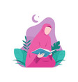 muslim woman reading holy quran vector image vector image