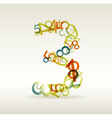 number three made from colorful numbers vector image vector image