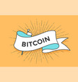 poster with ribbon and word bitcoin vector image vector image
