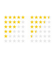 product ratings set with gold stars vector image vector image