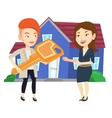 Real estate agent giving key to new house owner vector image vector image