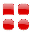 red glass buttons shiny geometric 3d icons vector image vector image