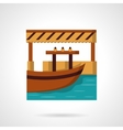 River dock flat color icon vector image vector image