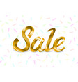 sale golden text sale lettering of gold on white vector image vector image