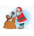 santa and monkey vector image