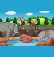 scene with people looking at elephants at zoo vector image vector image