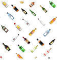 seamless alcohol glass bottles collection pattern vector image vector image