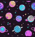 Seamless pattern with decorative fantasy planets