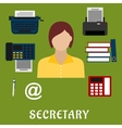 Secretary or assistant profession flat icons vector image vector image
