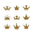 set golden sign crown design modern logos queen vector image vector image