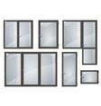 set of black plastic windows vector image vector image