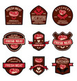 set of fresh meat labels design element for logo vector image vector image