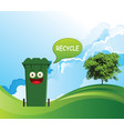 smiling recycling bin vector image vector image