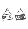 sold line and glyph icon real estate and home vector image vector image