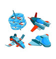 spaceships isometric building technology of vector image vector image