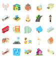 towny icons set cartoon style vector image vector image