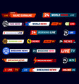 tv news bar television broadcast banner vector image vector image