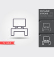 tv table line icon with editable stroke vector image vector image