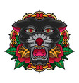 vintage old school tattoo panther vector image vector image