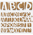 Wooden 3D alphabet vector image