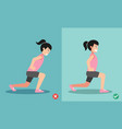 wrong and right lunges posture vector image vector image