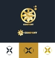 bstract sign gold flower logo vector image