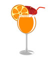 a glass of fresh orange juice vector image vector image
