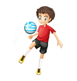 A young football player using the ball from Greece vector image vector image