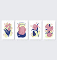 abstract minimal flowers set template background vector image vector image