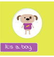 Baby shower card with dog Its a boy vector image