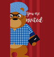 bear cute animal cartoon invitation card vector image