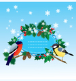 Bullfinch and tit with Christmas tree vector image vector image
