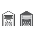car garage line and glyph icon automobile vector image vector image