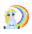 cartoon light blue lovely unicorn sitting on a vector image vector image