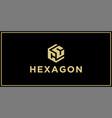 cc hexagon logo vector image vector image