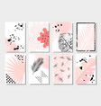 collection of cute pink abstract summer cards vector image vector image