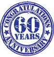 Congratulations 60 years anniversary grunge rubber vector image