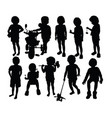 cute and funny kid silhouettes vector image