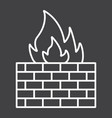 firewall line icon security and brick wall vector image vector image