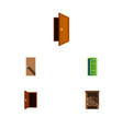 flat icon door set of saloon approach entry and vector image vector image