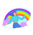 girl on a rainbow background joy happiness vector image vector image